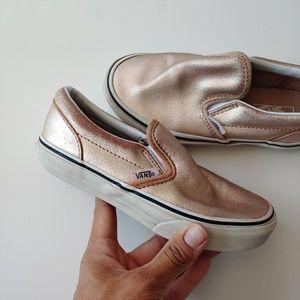 Vans Shoes - Vans Rose Gold Girl Slip On Skater Sneakers 13